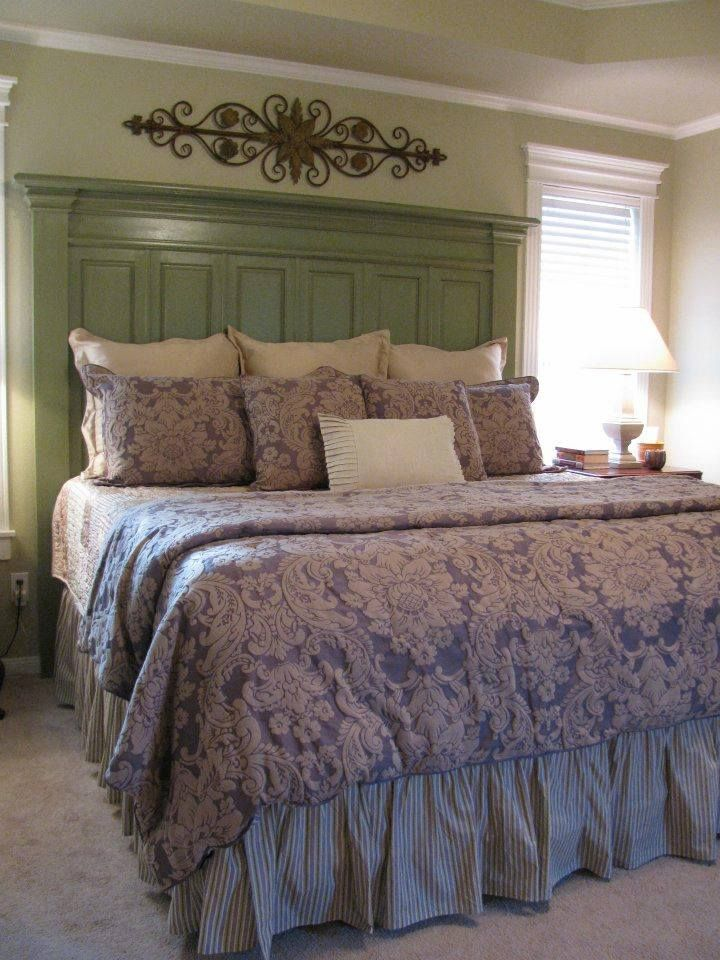 This is a King-sized Headboard a customer made using cabinet doors, molding  and