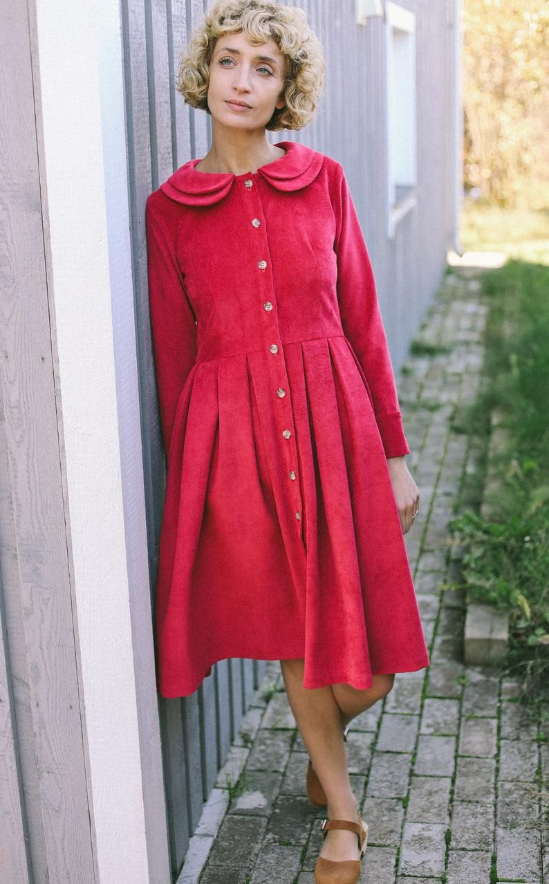 Fitted Corduroy Long Sleeve Dress Handmade By Offon Etsy Long Sleeve Dress Dresses Indigo Dress [ 1278 x 794 Pixel ]