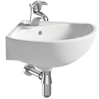 Grove Wall Hung Corner Basin 1 Tap Hole 450mm Bathroom Sinks