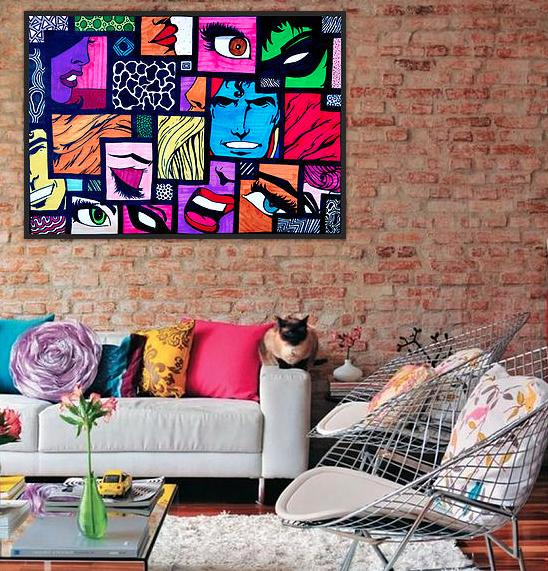 affiche pop art comics 1 small spaces en 2019 mobilier. Black Bedroom Furniture Sets. Home Design Ideas
