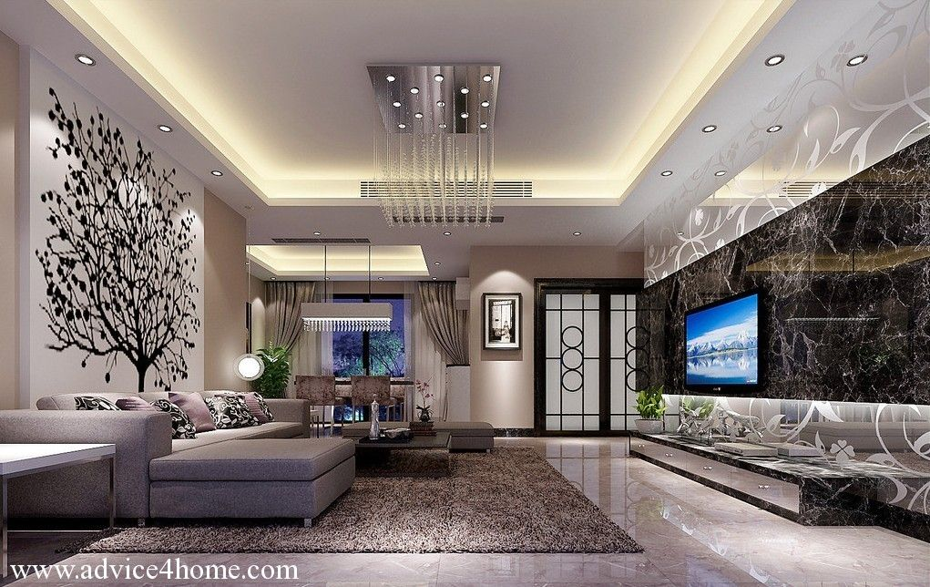 white pop ceiling design and white back floral wall design and sofa set in living - Home Ceilings Designs