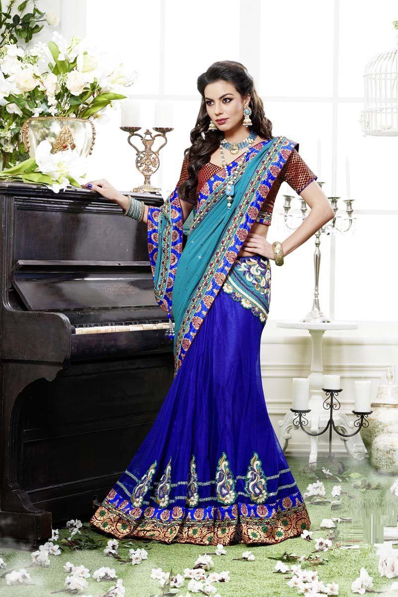 Blue Georgette Lehenga Saree   Sarees!!!   Pinterest