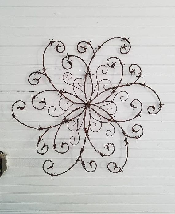 Barbed Wire Swirl Wrought Iron Swirl Barbed Wire Wall Decor   Barb ...