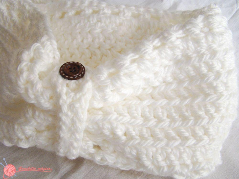 cuello infinito blanco nieve (3) ganchillo | Cuellos | Pinterest ...