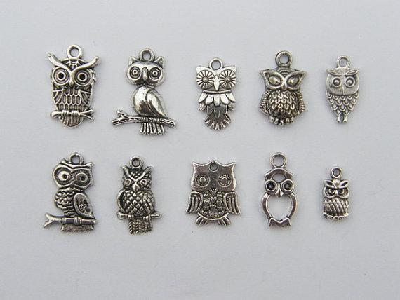 10 Metal Craft Charms Hibou