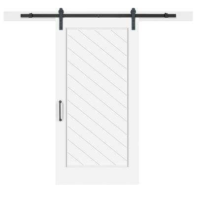 42 In X 84 In White Collar Composite 1 Panel Herringbone Solid Core Mdf Barn Door With Sliding Door Barn Door Handles Glass Barn Doors Sliding Door Hardware