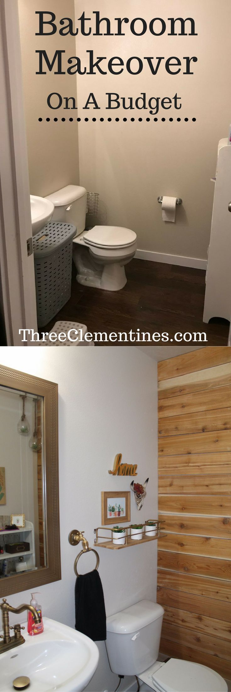 Plank walls in bathroom - Desert Themed Bathroom Makeover And Budget Friendly Wood Plank Wall