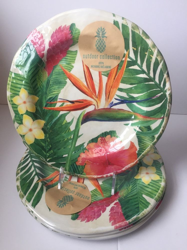 Outdoor Collection Spring Floral MELAMINE Dinner Plates S/ 4 Pink Yellow Green | eBay & Outdoor Collection Spring Floral MELAMINE Dinner Plates S/ 4 Pink ...