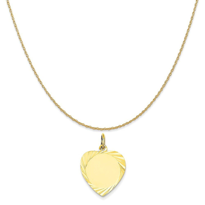 14k Etched .013 Gauge Engravable Heart Disc Charm