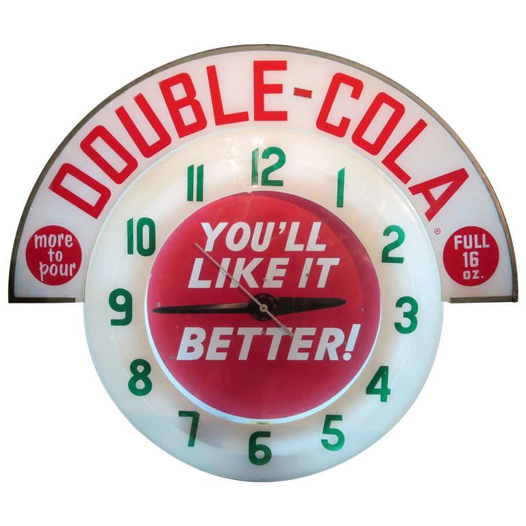 Double Cola Neon Advertising Wall Clock Note To Self