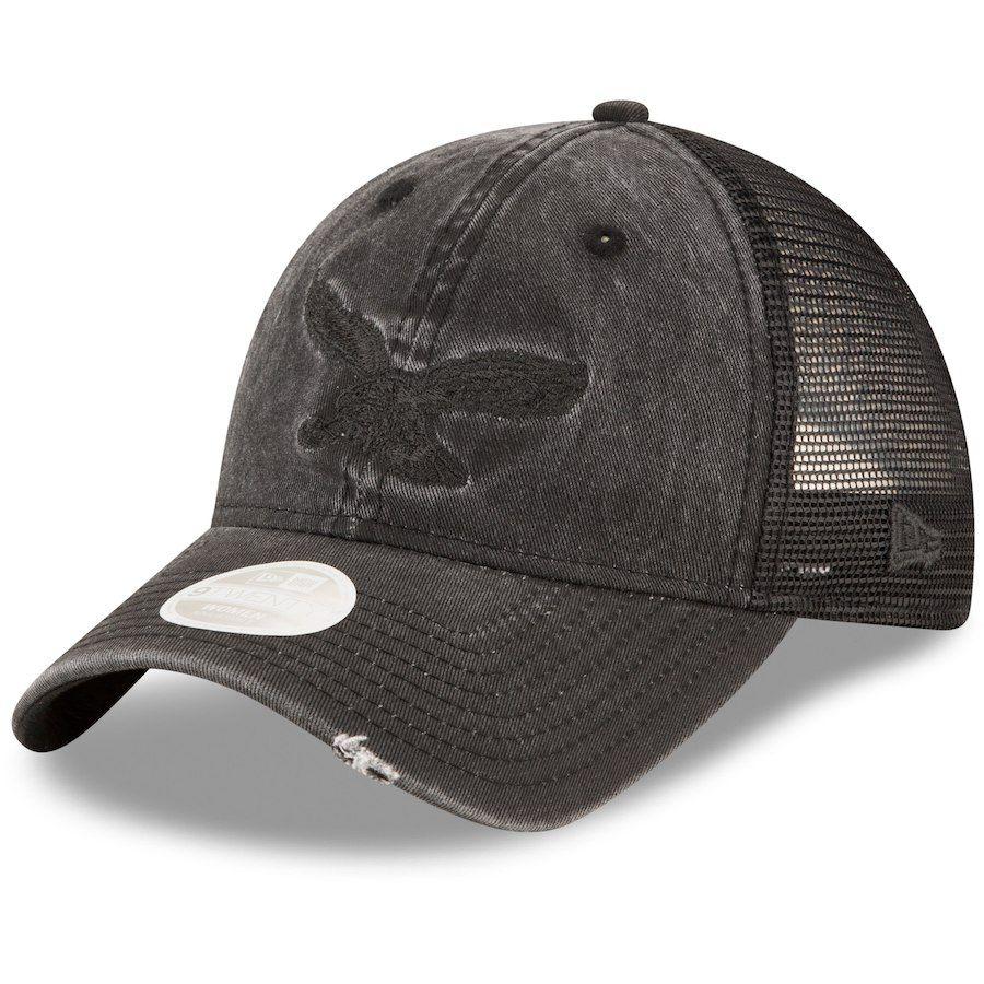 Women s Philadelphia Eagles New Era Black Tonal Washed Trucker 9TWENTY  Adjustable Hat 1555d1745