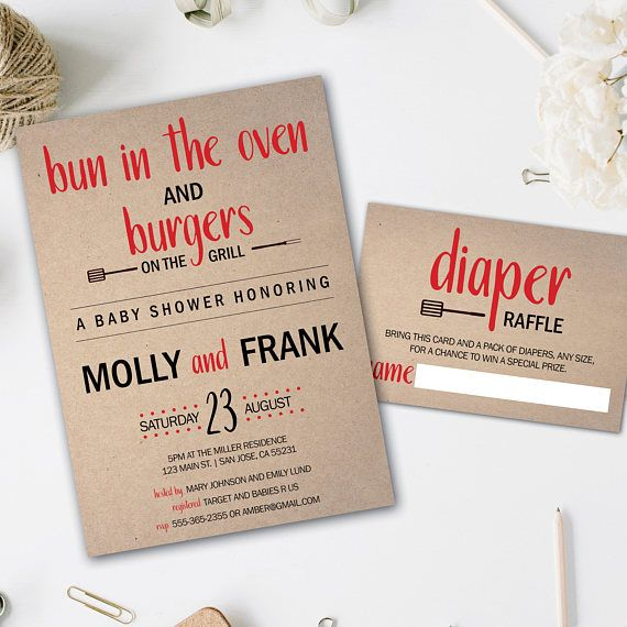 Bun In The Oven | Burgers On The Grill | Baby Shower Invitation | Baby Q  Shower | Baby BBQ | Bun In The Oven Invite | Backyard Baby Q