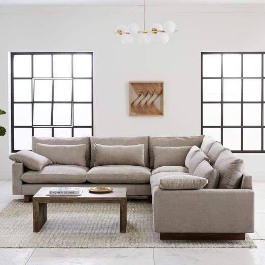 West Elm Harmony Down Filled L Shaped Sectional Deep Sectional