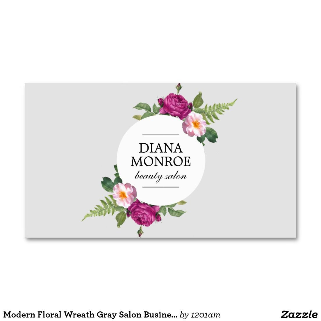 Modern Floral Wreath Gray Salon Business Card for Hairstylist ...