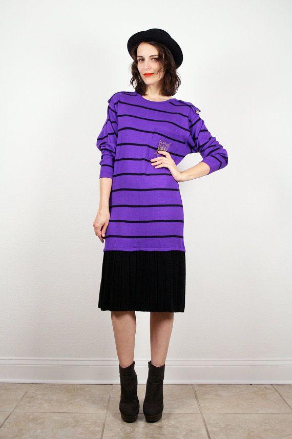 ea246d3e3ee0 Vintage Purple Sweater dress Purple Black Striped Drop Waist Midi Dress  Pleated Skirt New Wave Long Sleeve Knit Jumper Dress M Medium  vintage   etsy  80s ...