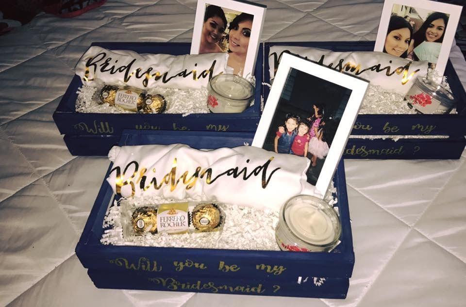 Bridesmaid proposal crates wedding party invites
