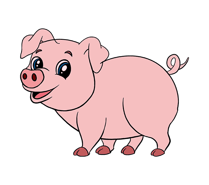 How To Draw A Cartoon Pig In A Few Easy Steps Easy Drawing Guides Pig Cartoon Cartoon Eyes Drawing Cute Animal Drawings