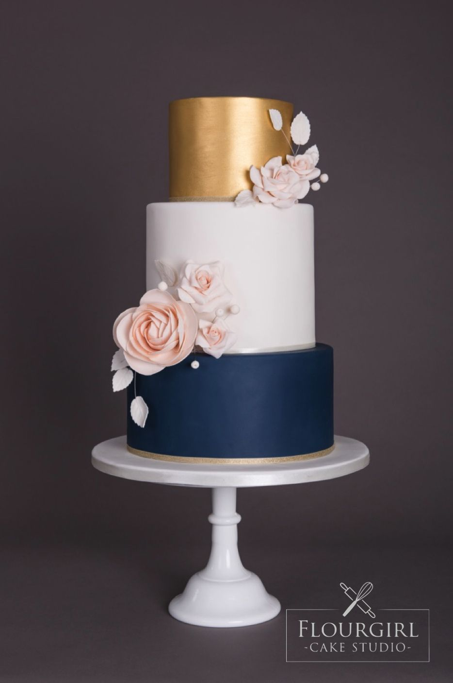 Navy Gold And Blush Wedding Cake