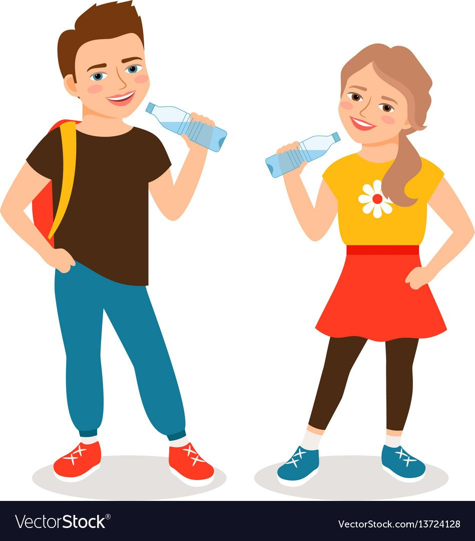 Kids Drinking Water Cartoon Little Boy And Small Girl Drinks Clean Water Isolated On White Background Vecto Vector Free Free Vector Images Water Illustration