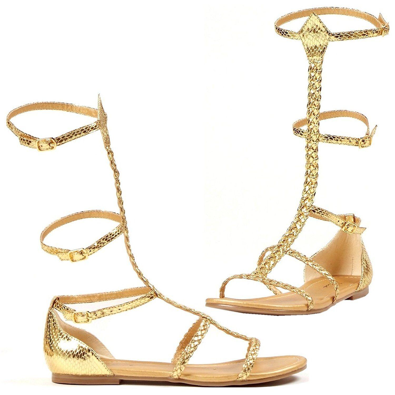 Gladiator Cairo Flat Heel Gold Sandal Shoes