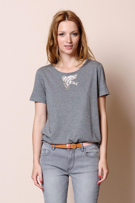 t-shirt m. courtes Giselle gris chiné 50% coton - 50% modal -