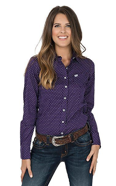 550e06937dfe2c Cinch Women's Purple and White Polka Dot Long Sleeve Western Shirt |  Cavender's