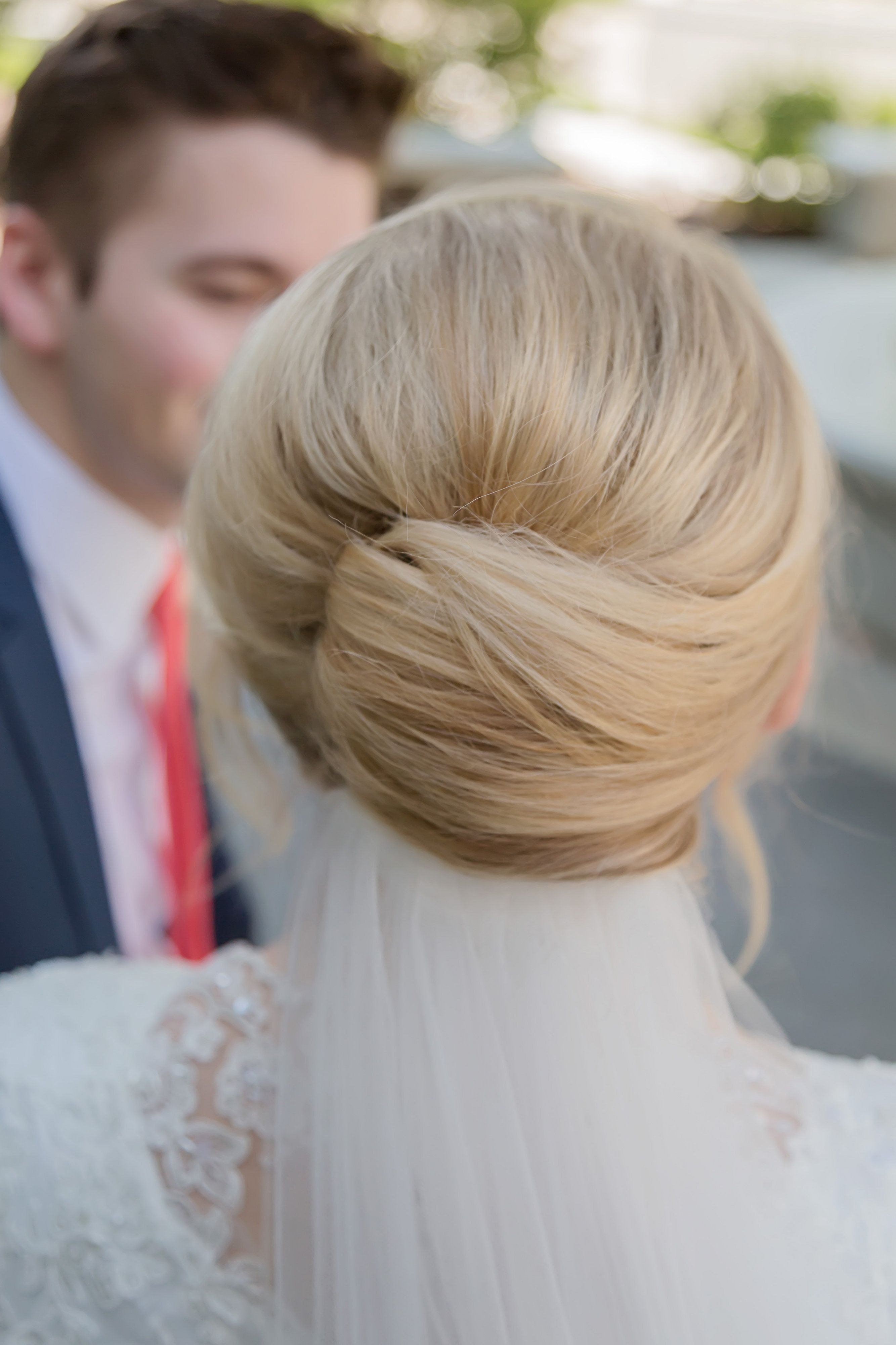 Blonde, sweeping up-do and veil. Perfect wedding hair! Thanks to http://www.redscarlettmakeupartistry.com/ for hair and make-up, and www.rachelnielsenphotography.com for the photography.