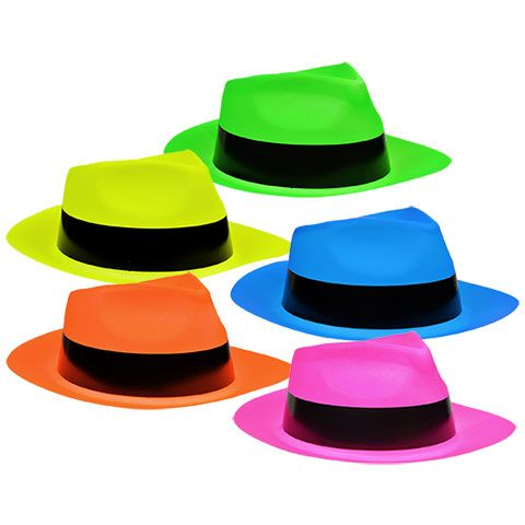 9b6cdf6613951 Bulk Neon Plastic Fedora-Shaped Party Hats at DollarTree.com