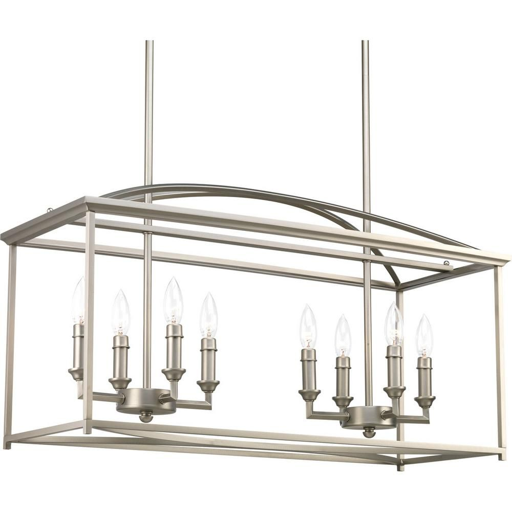 Progress Lighting Piedmont Collection 8 Light Burnished Silver Chandelier P400033 126 The Home Depot Chandelier Ceiling Lights Progress Lighting Linear Chandelier
