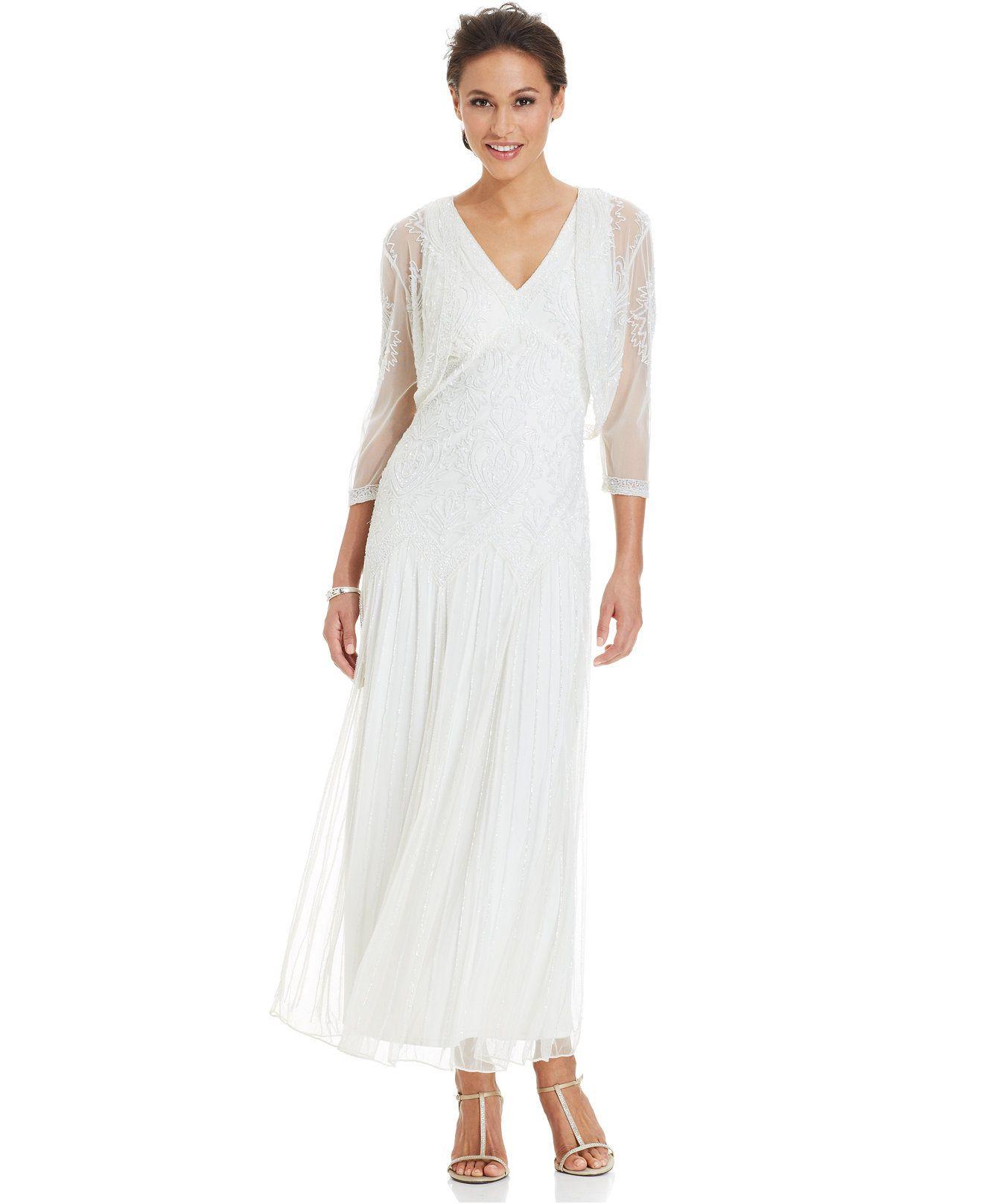 Pisarro Nights Sleeveless Beaded Gown and Jacket - Wedding Day ...