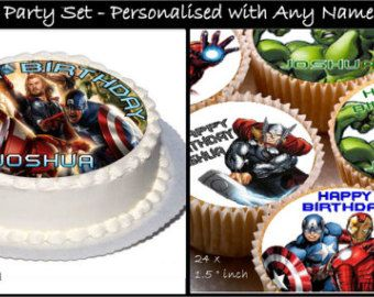 Personalised Marvel Avengers Party Set Real Decor Icing Cake Toppers with Any Name u0026 Happy Birthday & Personalised Marvel Avengers Party Set Real Decor Icing Cake Toppers ...