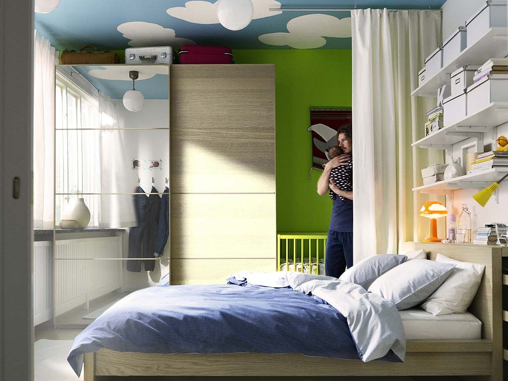 Amazing Small Space Baby Room/ Parent Room...a Curtain To Separate The Two