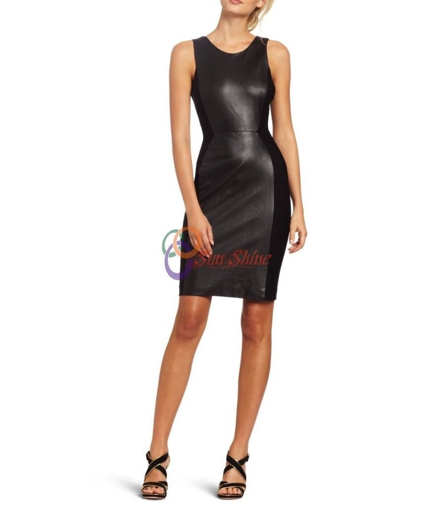 Cool great spring designer lamb new leather women dress cocktail