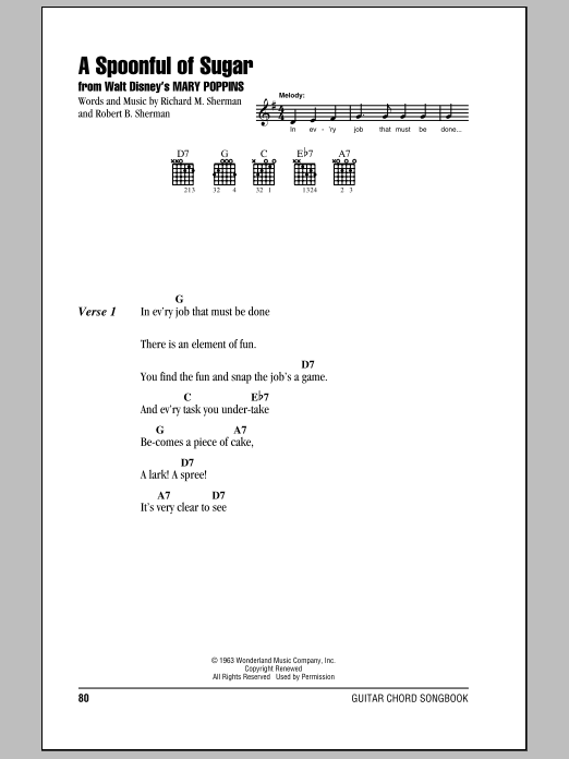 A Spoonful Of Sugar by Sherman Brothers - Guitar Chords/Lyrics ...