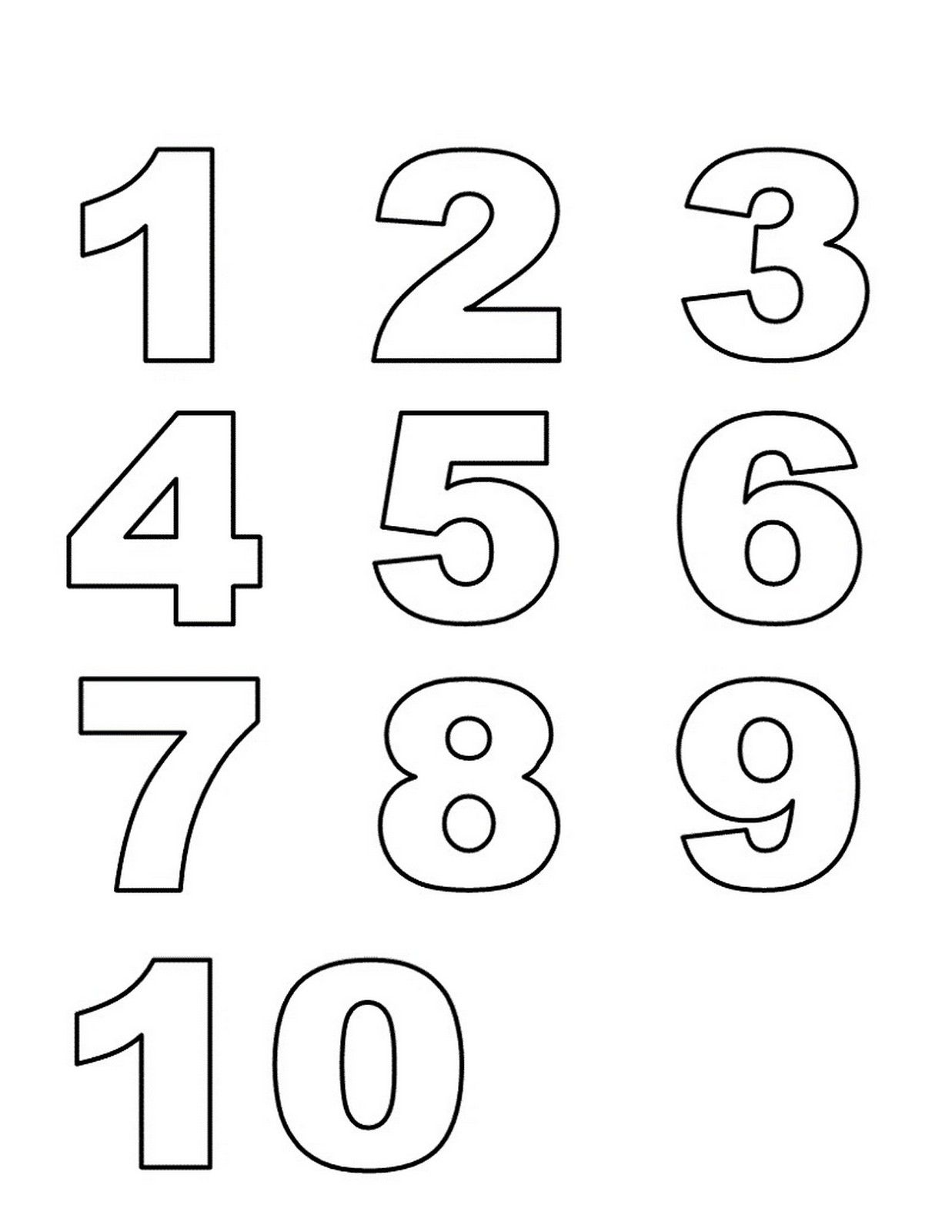 Numbers 1 10 Preschool Printables List