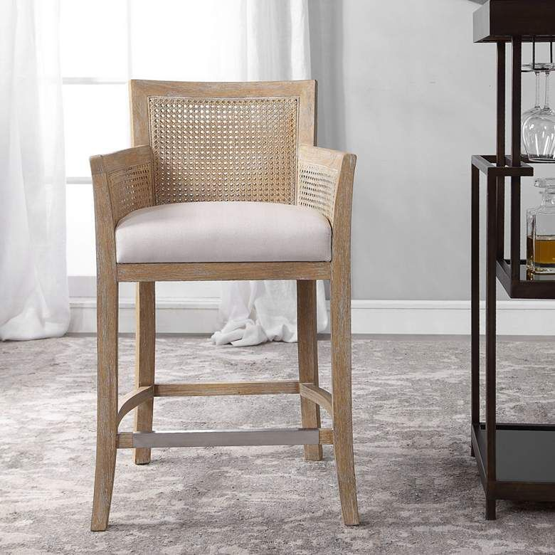 Uttermost Encore 26 Natural Wood And Rattan Counter Stool 78c87 Lamps Plus Rattan Counter Stools Wood Counter Stools Counter Stools