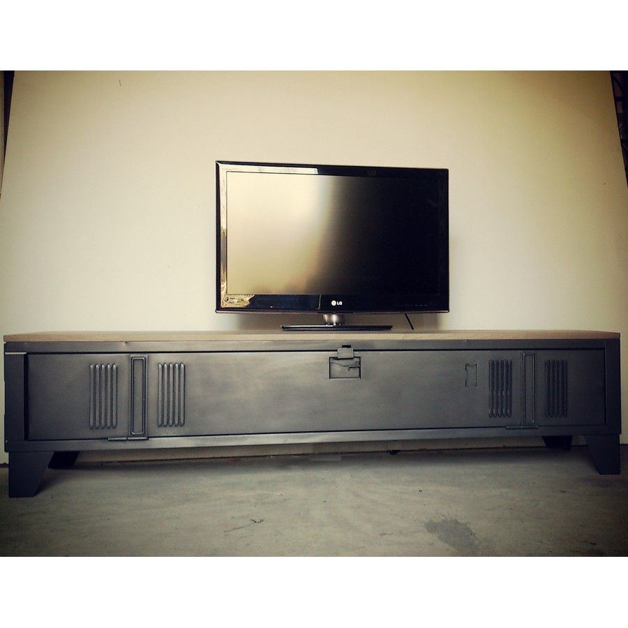 Vestiaire transform en meuble tv industriel metal et bois heure cr ation d co pinterest - Fabriquer meuble tv industriel ...