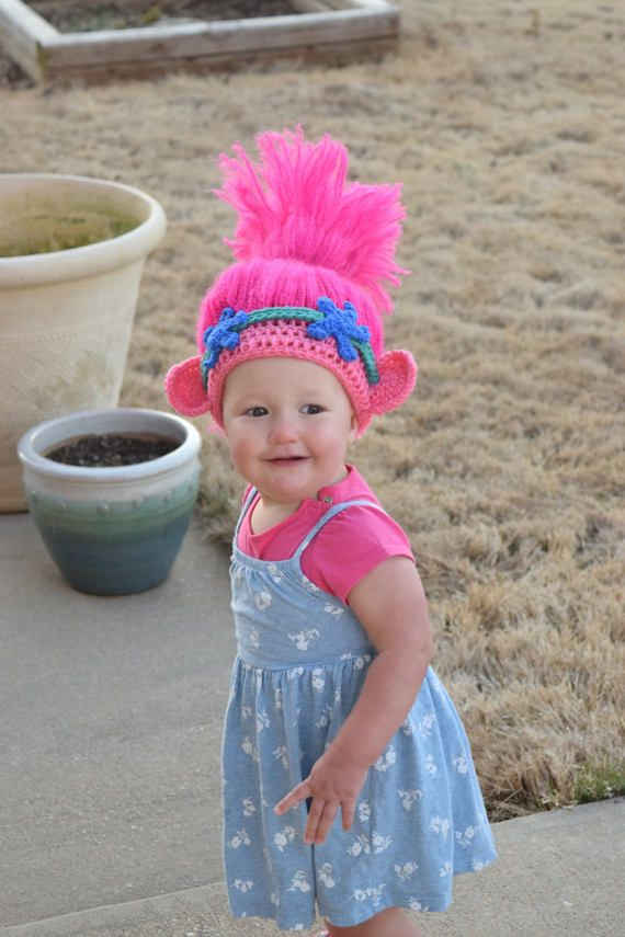 Trolls Crochet Hat, Trolls Hair, Trolls hat, Princess Poppy | Trolle ...