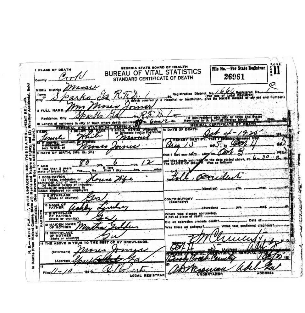 Joiner Moses Lindseys Pinterest Death Certificate And Georgia