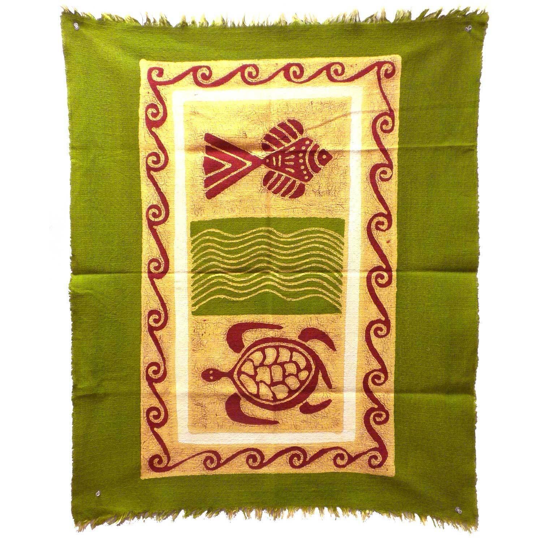 Global Crafts Handmade Sea Life Batik in Green/Yellow/Red (Zimbabwe ...