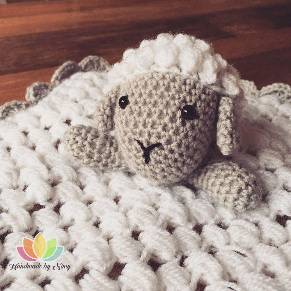 Fluffy Sheep Security Blanket Crochet pattern by Handmade By Nimy #securityblankets