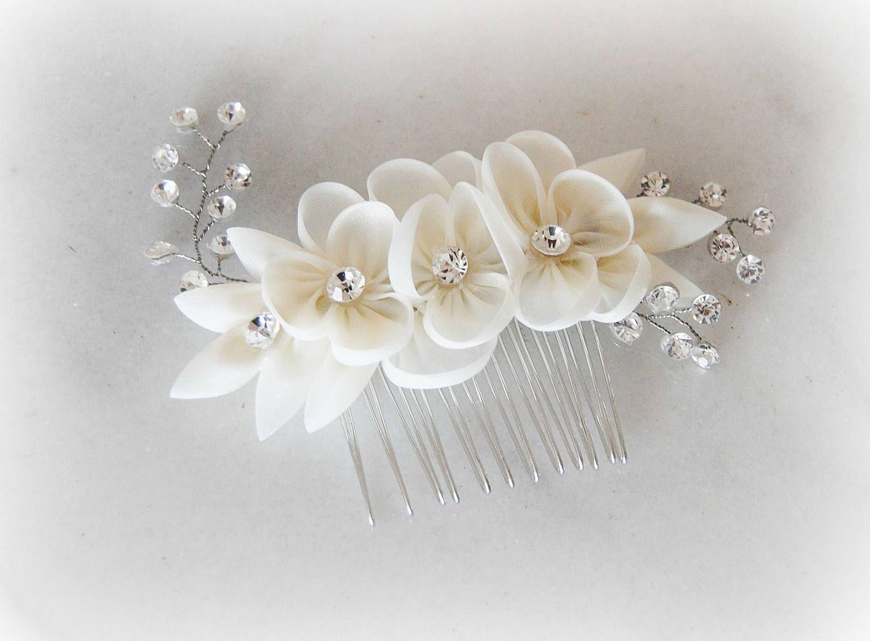 Marfil nupcial peine cristales de Swarovski Organza y flor ...