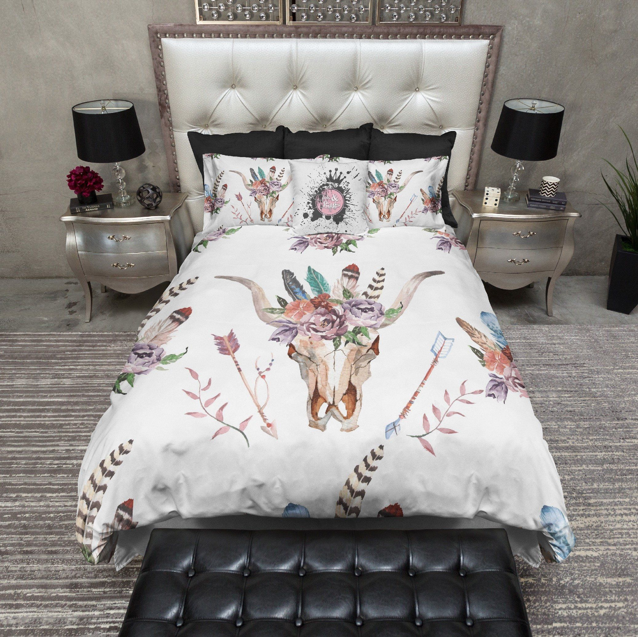 Bettwäsche Buffalo Boho Watercolor Flower Feather Arrow Bull Skull Bedding Haus 028