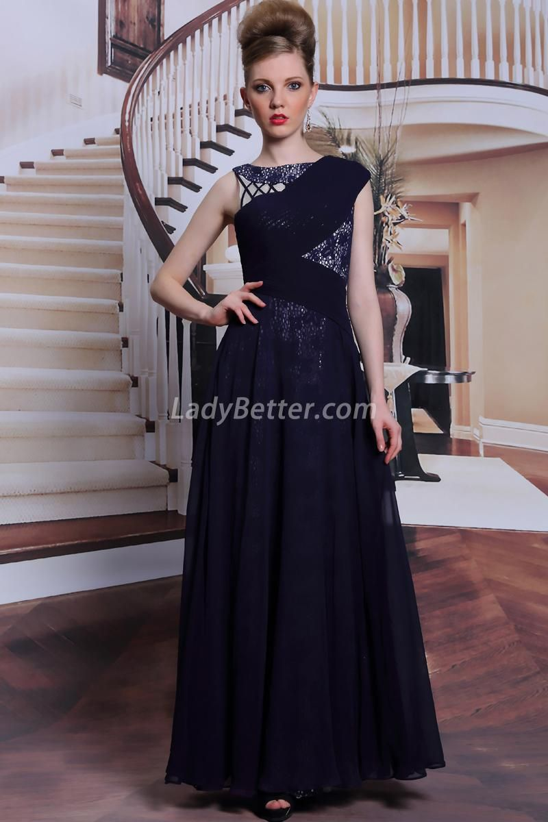 Navy chiffon asymmetrical bateau neck aline long evening dress