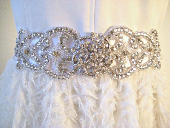 Bridal wedding beaded crystal sash/belt with exquisite by IngenueB, $160.00