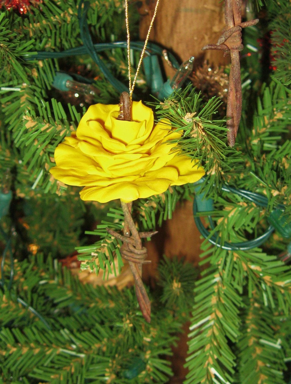 Rose christmas ornament - Yellow Rose Christmas Ornament Made From Polymer Clay