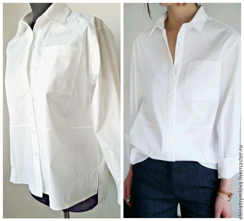 908deda765b Купить Белая женская рубашка мужского кроя - белый