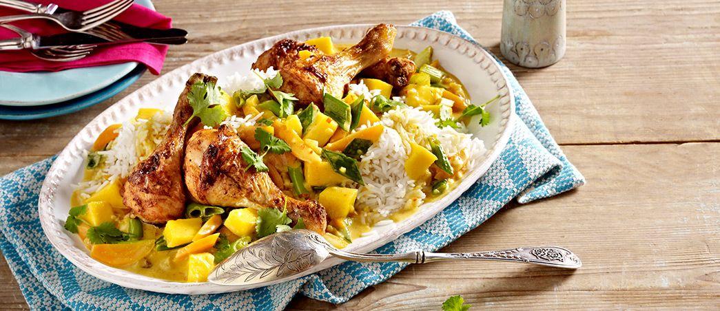 Karibischer Mango-Reis mit Hähnchenkeulen