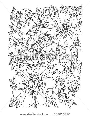 Forest Flowers Floral Pattern Peonies Blossom Leaves Vector Coloring Book Page