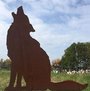 Wolf Heulend Hohe 72cm Gartenstecker Edelrost Rost Metall Rostfigur Hund Fuchs Ebay Gartenstecker Metall Figur